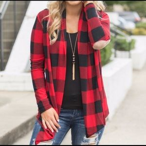 Other - NWT Buffalo Plaid Suede Elbow Patch Cardigan